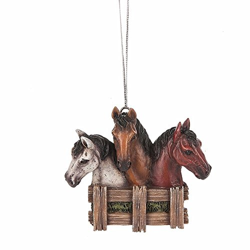 Horses Looking Over Fence Hanging Ornament