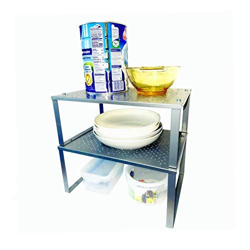 Ripiano salvaspazio cucina stoviglie allungabile, Set da 2 ripiano in metallo, Portaspezie, Piatti organizer