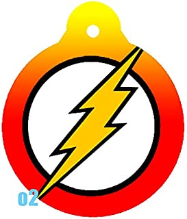 O2 Circle Team JLA Batman Superman Wonder Woman Lantern Comic Art Design Custom Logo Dog Pet Cat ID Tag Round Shape Personalized Key Ring