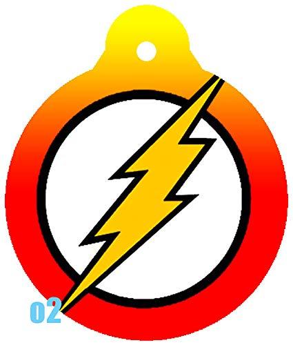 O2 Circle Team JLA Batman Superman Wonder Woman Lantern Comic Art Design Custom Logo Dog Pet Cat ID Tag Round Shape Personalized Key Ring (Flash)