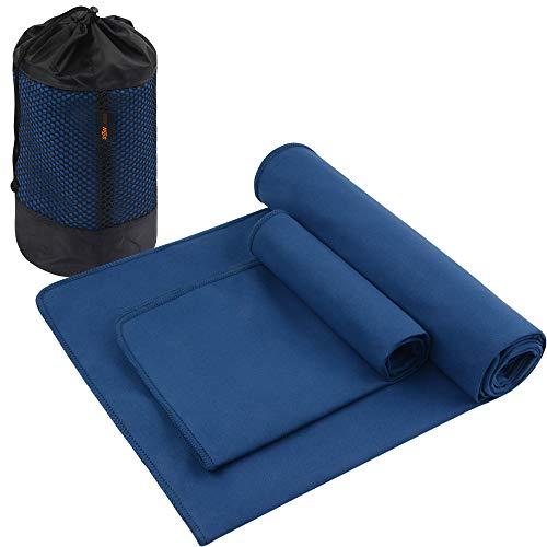 SUNLAND Mikrofaser-Yoga-Handtuch, schweißabsorbierend, weich, rutschfest, Hot Yoga Handtuch + Handtuch, 2-in-1-Set mit Tragetasche, ideal für Pilates, Hot Yoga, Bikrams, 61 x 183 cm, Marineblau