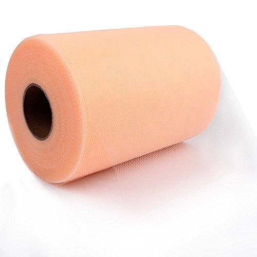 Paor 100 Yardas 15cm de ancho Tela de cinta de tul para la decoración de la fiesta Wraping Craft Bow Girl Tutu Color Verde oscuro/rosa / púrpura Amarillo limón/Azul marino/Blanco (peach)