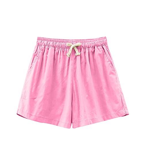 Pantalones Cortos Mujer Suelta Casual Color Liso para Verano Shorts Mujer con Cintura Elástica Ajustable y Bolsillos Laterales Pantalón Corto Mujer Transpirables Ideal para Vida Diaria,Ocio