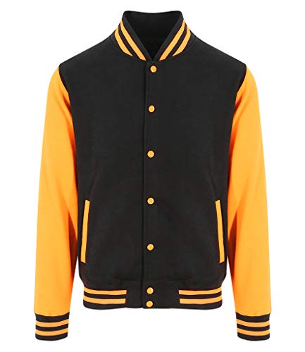 Awdis Hoods Varsity Letterman Jacket (Medium, Jet Black/Orange Crush)