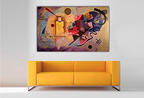 Cuadro Lienzo Vassili Kandinsky Amarillo, Rojo y Azul - Lienzo de Tela Bastidor de Madera de 3 cm - Fabricado en España - Impresión en Alta resolución – Varias Medidas (60, 37)