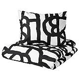 SKUGGBRÄCKA - Funda de edredón y 2 fundas de almohada (200 x 200/50 x 60 cm), color blanco y negro