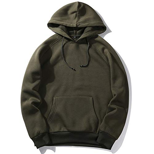 MRULIC Herren Basic Kapuzenpullover Sweatjacke Einfarbig Pullover Hoodie Sweatshirt RH-001(Armeegrün,EU-48/CN-XL)