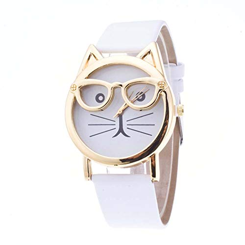 Dibujos Animados Cute Style Creative Watch Beard Gold Leopard Watch Cat Face Glasses Ordinary Glass Mirror Special - Blanco