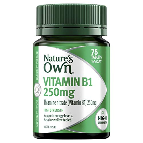 Nature's Own Vitamin B1 250mg - Supports energy levels and nervous system function - Maintains heart health, 75 Tablets