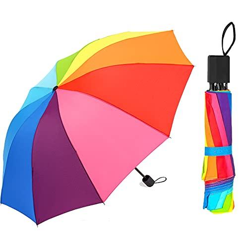Mehrfarbiger taschenschirm Zusammenklappbar regenschirm sturmfest Regenschirm sturmfest groß robust für Schützt vor Regen, Wind und Sonne,Unisex für Damen und Herren,Mehrfarbiger,Faltschirm.