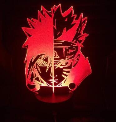 Naruto Cartoon Kakashi Sasuke Sakura Samurai Ninja Manga japonesa Anime Lámpara de mesa Amistad Comic 3D Luz de noche Navidad Niños Regalo Decoración