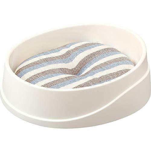アイリスオーヤマ丸洗いできるペットベッドブルー/ボーダーMサイズ