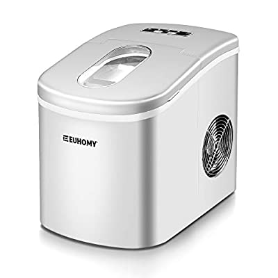 Euhomy Ice Maker Countertop, 26lbs/24H Portable Compact ice maker machine, 9 Ice cubes ready in 8 Mins, with Ice Scoop & Basket, Perfect for Home/Kitchen/Office/Bar (Grey)