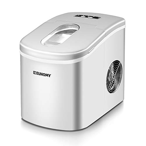 Euhomy Ice Maker Countertop, 26lbs/24H Portable Compact ice maker machine, 9 Ice cubes ready in 6-8 Mins, with Ice Scoop & Basket, Perfect for Home/Kitchen/Office/Bar (Grey)