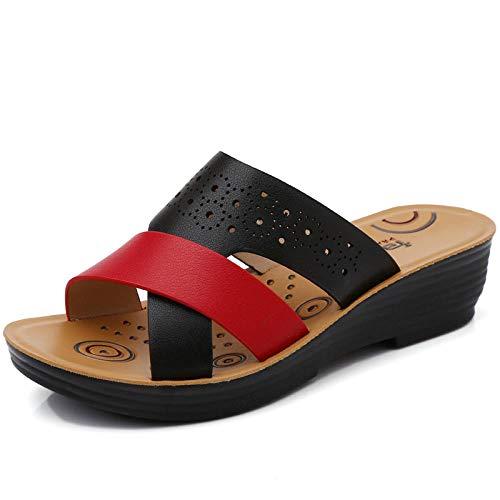 Antislip sloffen voor binnen en buiten,Antislip bovenkleding sandalen met platte bodem, vrouwelijke zomer casual moederschoenen - Zwart 1_37
