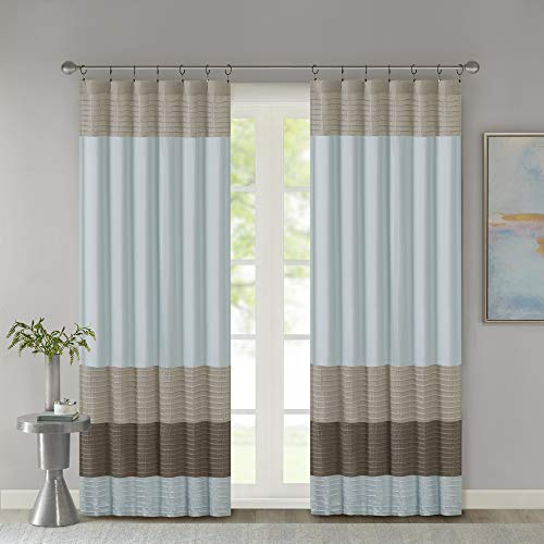 Madison Park Amherst Faux Silk Rod Pocket Curtain With Privacy Lining for Living Room, Window Drapes for Bedroom and Dorm, 50x84, Blue