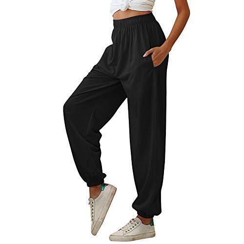 Nuofengkudu Mujer Harem Baggy Jogging Pantalones con Bolsillos Elastica Cintura Alta Comodo Llanura Largos Pantalón Deportiva Sports Jogger Pants Sweatpants Casual Ropa de Casa(Delgado-Negro,2XL)