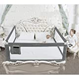 Toytexx 3 Sides Bed Safety Bed Guard Rail Bed Fence for Children, Toddlers, Infants - King Size Grey Color