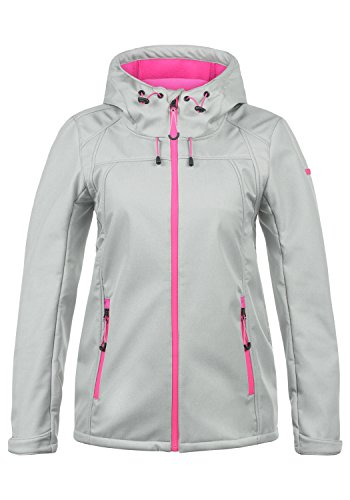 DESIRES Soley Damen Softshell Jacke Funktionsjacke Übergangsjacke mit Kapuze, Größe:L, Farbe:Light Grey Melange (8242)