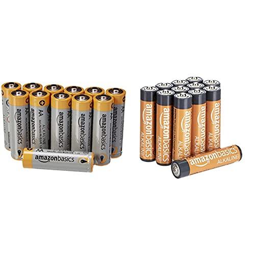 AmazonBasics Pile Stilo Alcaline AA Performance, confezione da 12 & Pile Mini Stilo Alcaline AAA Performance, confezione da 12