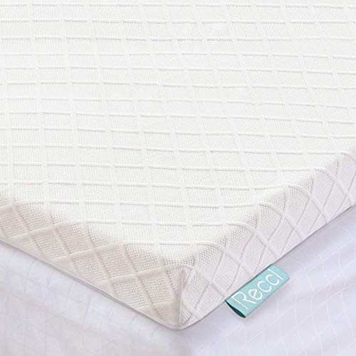 RECCI Memory Foam Mattress Topper Double Bed - Double Memory Foam Mattress Topper for Back Pain with Removable & Washable Bamboo Viscose Zipped Cover, CertiPUR-EU (Double Size - 135x190x5cm)
