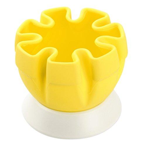 FACKELMANN Zitronenpresse mit Halter aus Silikon ist Testsieger, frisch gepresster Saft ohne Kerne, Küchenhelfer zum Pressen von Limetten (Farbe: Gelb/Weiß), Menge: 1 Stück