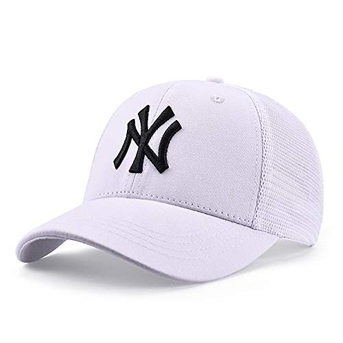sdssup Sombrero Mujer Verano sombrilla Transpirable Sombrero Fresco Gorra de béisbol Masculino Marea Salvaje NY Gorra NY-07 Blanco Negro Palabra Malla Ajustable