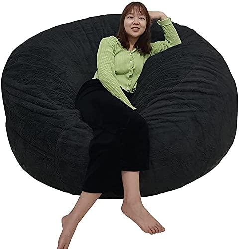 Cubierta de silla de bolsas de frijol de pelo gigante, silla de 6/7 pies Cojín de la silla Muebles de sala de estar grande redondo suave suave Faux Foux Beanbag Sofá cubierta para adultos niños