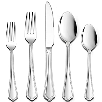 60 Pieces Silverware Set with Scalloped Edges, HaWare Stainless Steel Timeless Classic Flatware Eating Utensils, Elegant Design for Home/Hotel, Mirror Polished & Dishwasher Safe