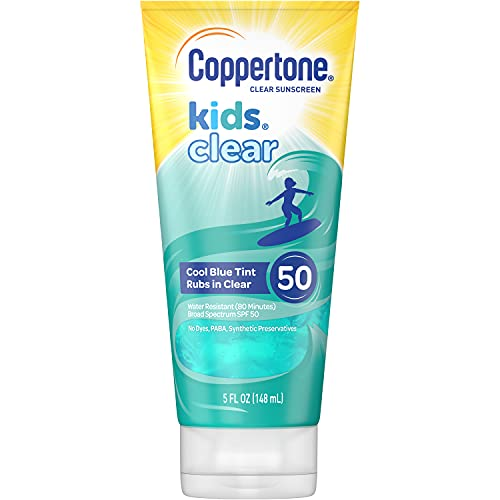 Coppertone 041100586377 Kids Clear Blue SPF 50 Sunscreen Lotion, Water Resistant, Non-Greasy, Broad Spectrum UVA/UVB Protection, Clean, Cool, Berry, 5 Fluid Ounces