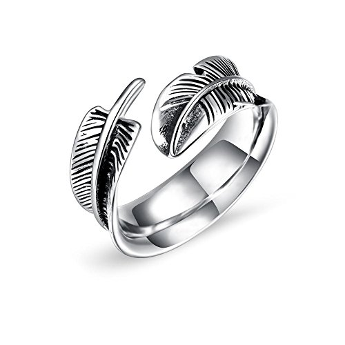 Gioielli da uomo in acciaio al titanio, anelli di apertura in acciaio al titanio a forma di piuma, gioielli da dito (8#)