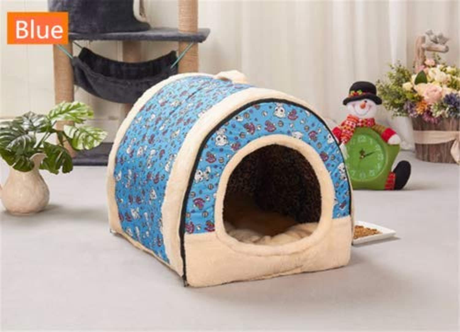 Gaobey Pet Cat Igloo Bed Small Dog Soft Bed Met House Waterproof Covered 1PC (S,M,L) (M453836 cm, bluee)