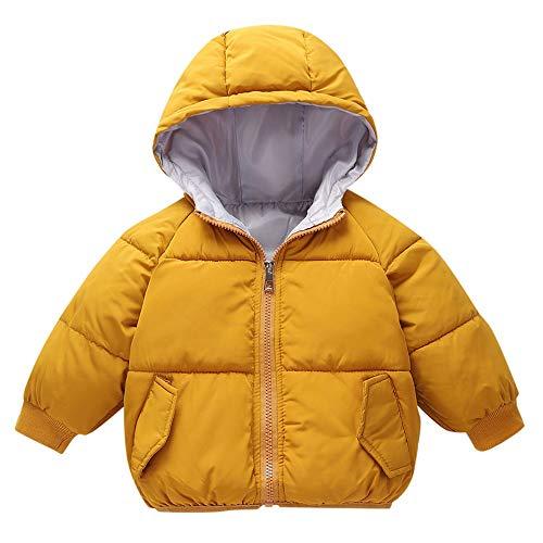 Kobay Kinder Baby Mädchen Jungen Mit Kapuze Brief Banana Drucken Plus Samt Dicke Warme Winter Daunenjacke Baumwolle Mantel(18-24M,Gelb)