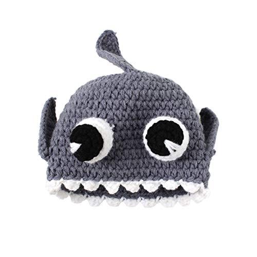 DELEY Unisexe Bébé de Bande dessinée de Crochet de Tricot Requin Chapeau de Bébé de Vêtements Tenue de Photo Accessoires de 0 à 6 Mois