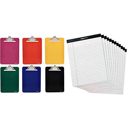 Amazon Basics Plastic Clipboards with Metal Clip, Assorted Colors, Pack of 6 & Legal/Wide Ruled 8-1/2 by 11-3/4 Legal Pad - White (50 Sheet Paper Pads, 12 Pack)