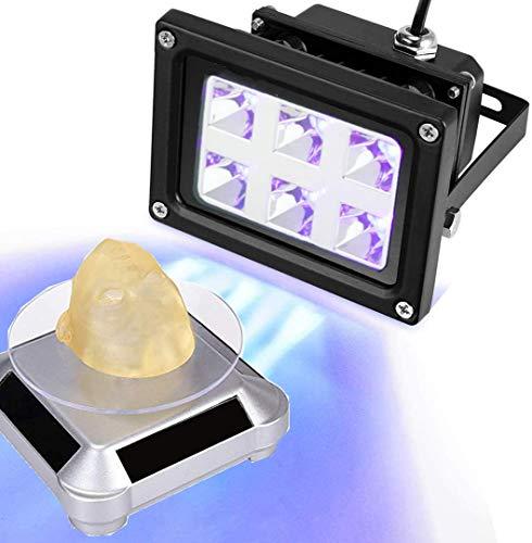 Impresora 3D UV Resina Lámpara 10W con Solar Soporte Exhibición Giratorio de 360 °Luz de Curado de Resina UV de 405 nm para SLA/DLP/ para Curado UV Accesorios de impresora 3D