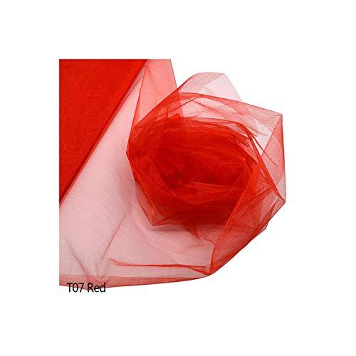 72cm * 10 Meter Sheer Kristall Organza Tulle Rolle Stoff für Hochzeit Bögen Dekoration Diy-Stuhl-Schärpen Partei Favor Supplies, T07 Red