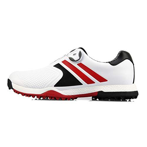 PGM Golfschuhe Für Männer Wasserdicht, Fast Twist Leichtes Spikeless Verbreiterte Golfschuhe Größe 39-44 EU,Rot,42 EU