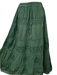 Doorwaytofashion Plus Size Cotton and Lace Lined Summer Skirt Embroidered UK One Size 16 18 20 22 24 (Bottle Green) #1
