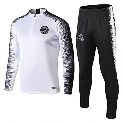 Nnssy Paris Langarm-Sportbekleidung, Trainingsanzüge for Kinder Jugend Jogging Top & Pants Gym Kleidung Unisex Full Zip Trikot Trikots Teamswear Anzug (Color : White, Size : M)
