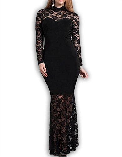 Red Dot Boutique 832 - Plus Size Mermaid Lace Maxi Long Cocktail Dress Gown (3X, Black)