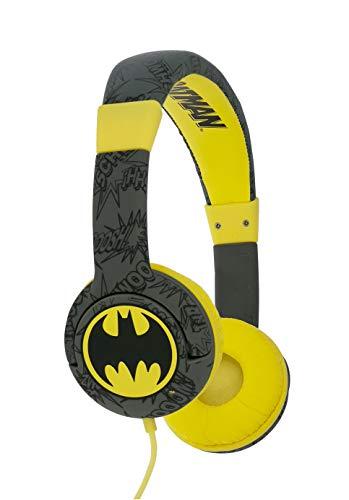 OTL Technologies JUNIOR Kinder Kopfhörer Batman Bat Signal (gepolsterte Bügel, Lautstärke Begrenzung auf 85 dB, buntes DC Design, für Jungen und Mädchen) Schwarz/Gelb