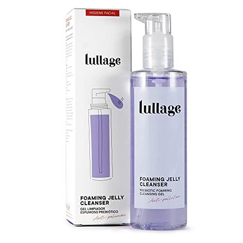 LULLAGE Gel Limpiador Facial Espumoso y Prebiótico Piel Mixta - Grasa, 200 ml   Tratamiento facial VEGANO y natural   Jabón purificante que Combate la Polución en la Piel, Foaming Jelly Cleanser