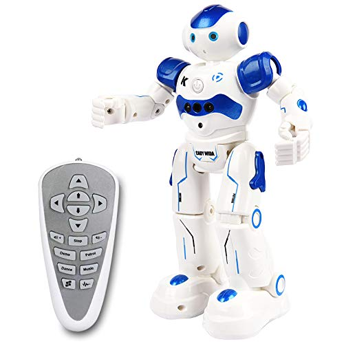 Yoego Remote Control Robot, Gesture Control Robot Toy for Kids, Smart Robot with Learning Music Programmable Walking Dancing Singing, Rechargeable Gesture Sensing Rc Robot (Light Blue)