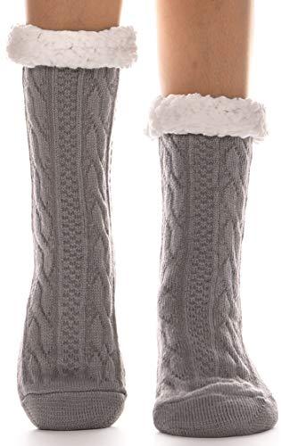 EBMORE Damen Kuschelsocken Warme Stoppersocken Rutschsichere Hausschuhe Dicke Socken Winter Hüttensocken Geschenk Flauschig Weihnachtssocken(Grau)