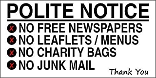 Unoopler No Free Newspapers Leaflets Bags Junk Mail Metal Sign 8x12 Notice Customised Plaque