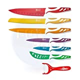 BUY ZONE - Set de cuchillos de acero inoxidable 6+1 Swiss Design. Baño Ceramico