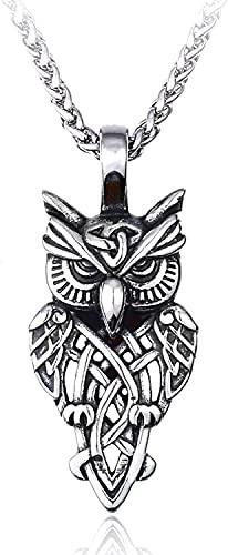 AMOZ Acrow Raven Rune Collar de Acero Inoxidable - Collar con Colgante de Símbolo de Nudo de Amuleto para Hombres Y Mujeres, Joyería Original Nórdica Vintage, Joyería de Actualización/Plata/Los 60Cm