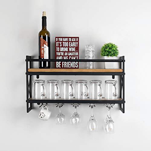 Weven Metal Wood Wine Rack Wall Mount,Industrial 2-Tier Stemware Glass Rack,Dining Wine Racks with 5 Stem Glass Holder for Wine Glasses,Mugs,Stemware Racks,Black