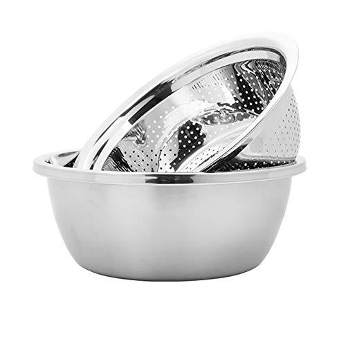 Mixing Bowls Stainless Steel Mixing Bowls Mixing Bowl Colander Bowl Set Stainless Steel Mixing Bowl Kitchen 304 Metal Mixing Bowl Anti-skid Base Mixing Bowl And Noodle Bowl Soup Bowl (Size : 26 cm)